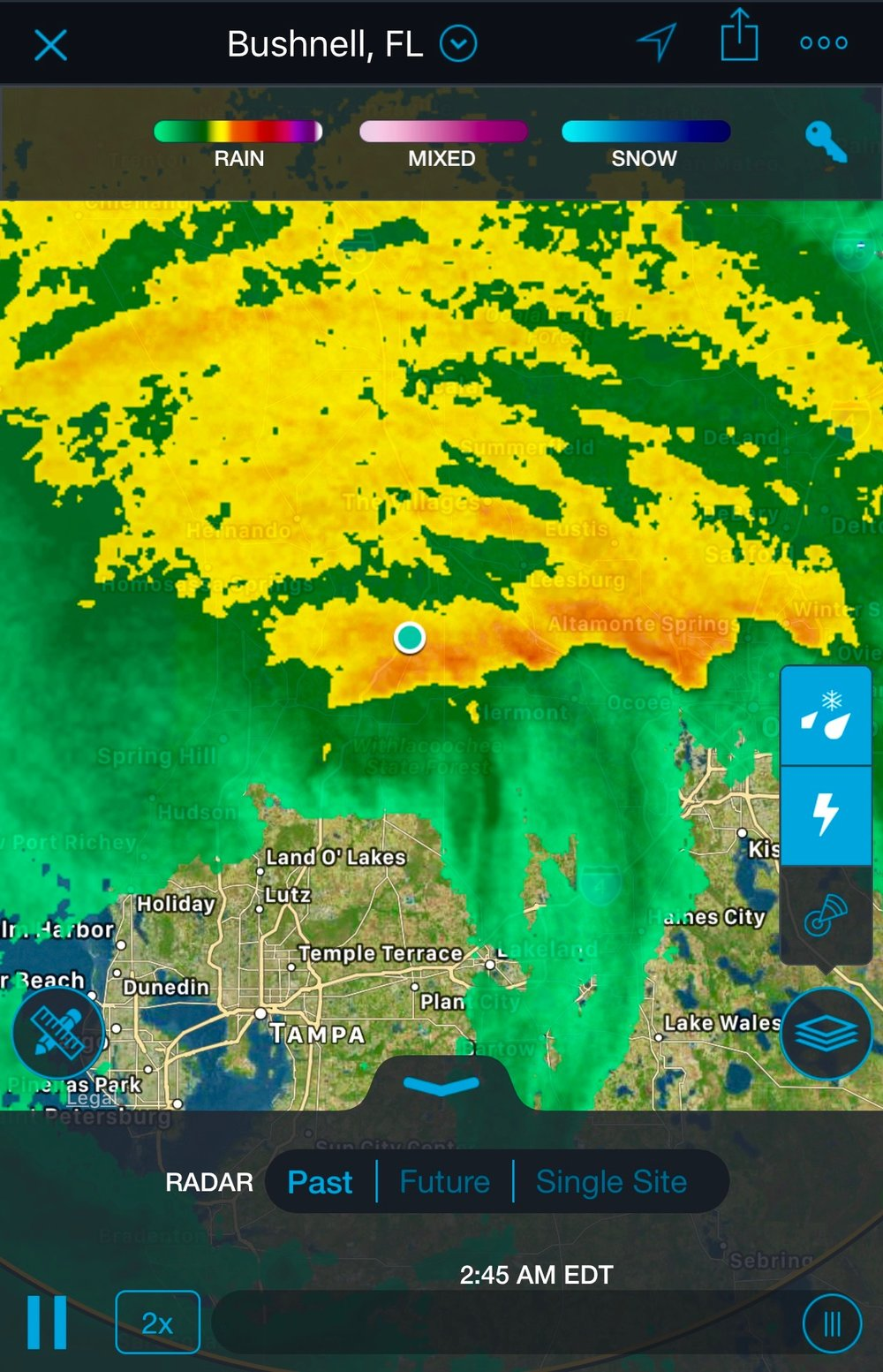 Radar image of the strongest portion of Hurricane Irma over Bushnell, Florida, (blue dot) on Monday, Sept. 11, 2017, 2:45 a.m. (Glenn Marston via Storm app on iPhone)