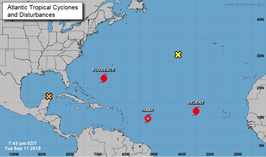 Atlantic tropical cyclones and disturbances Monday at 7:45 p.m. (National Hurricane Center)