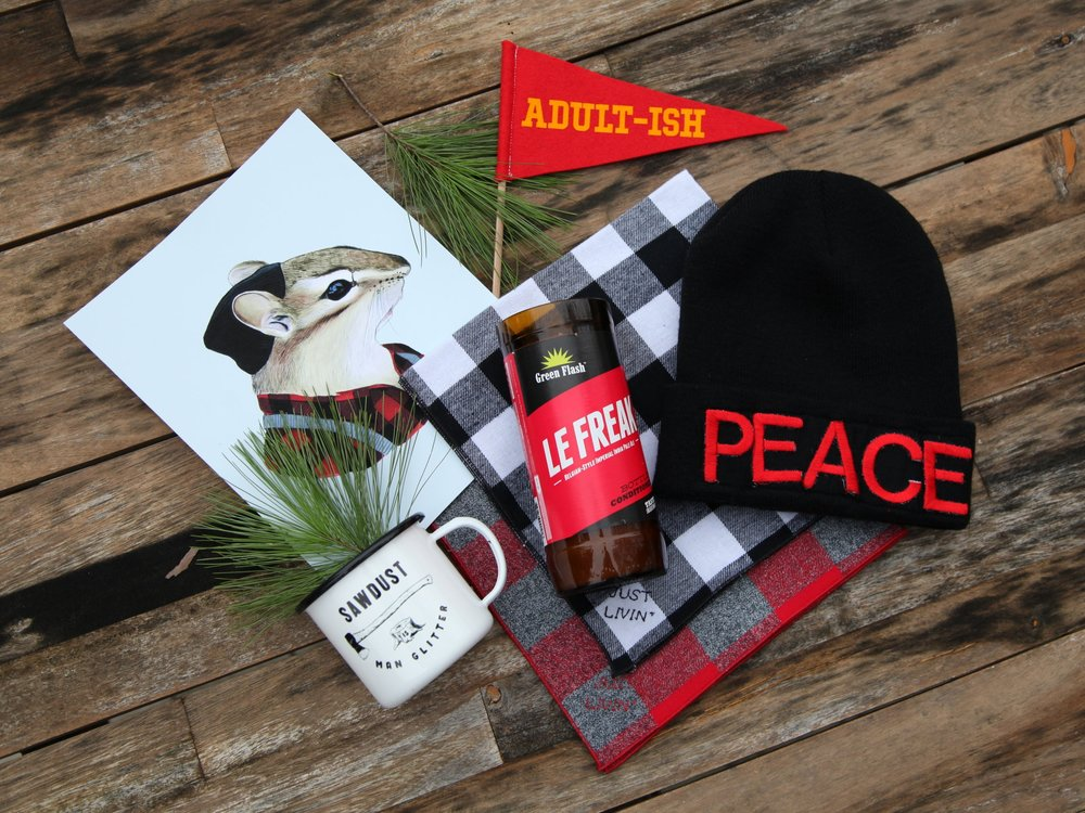 peace, bro - Don't know what to get the guy in your life? We have lots for him, too! Mugs, prints, hats, scarves, candles, patches, beard oil, hair products and more. We promise, he will love it!