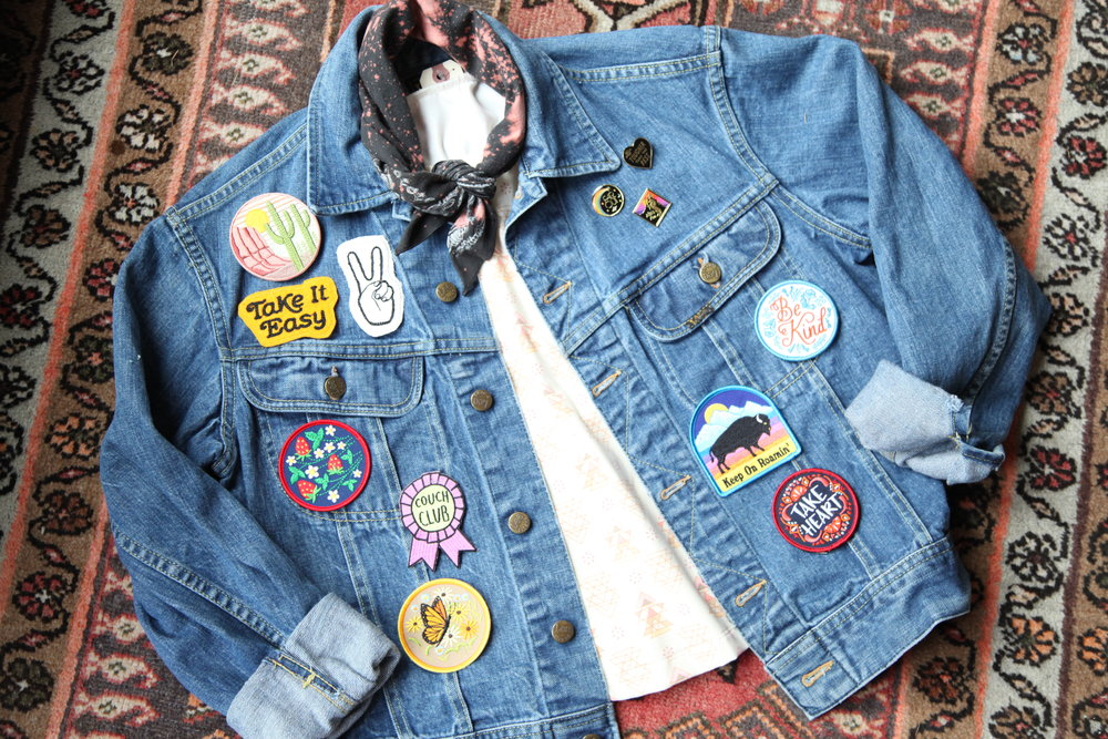 denim, babe - We have everything you need to complete your denim dreams--pins, patches, jackets, bandanas and more.