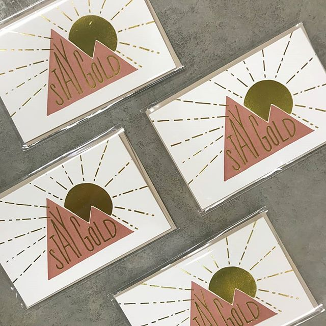 Why give any ol' card when you could buy this beautiful one by @pikestreetpress!?!?! We've got a huge selection of cards for every occasion!  #staygold #snailmail #goodvibes