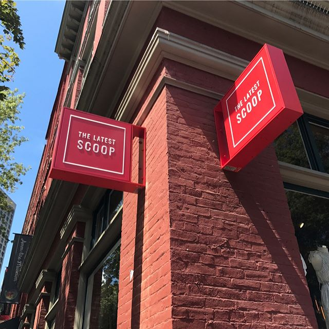 Two illuminated projecting signs we custom built, along with a channel letter sign.  For @thelatestscoop_ in gastown, at the steam clock . . . #vancouversigns #signmaker #handmadesigns #sign #vancouversigns #handmadesign #metalsign #madeinvancouver #signfabrication #signcollective