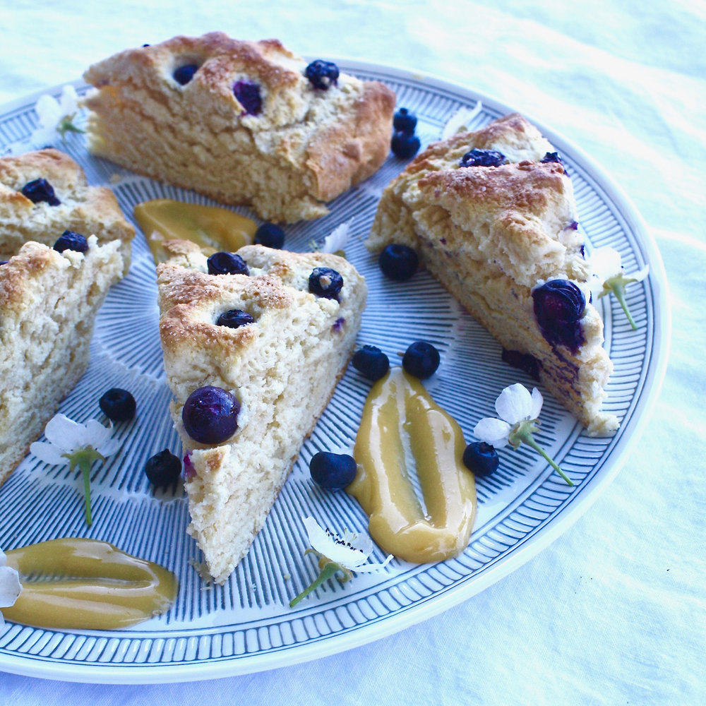 Blueberry Scones with Lemon Butter