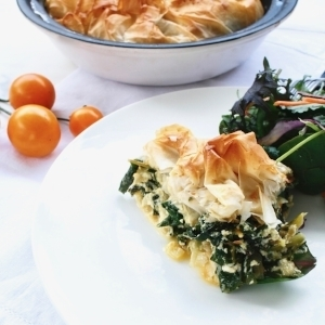 Spinach and feta filo tart