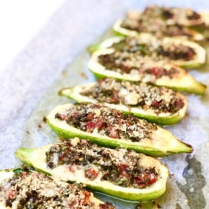 Stuffed Zucchini with capers and parsley GF, V