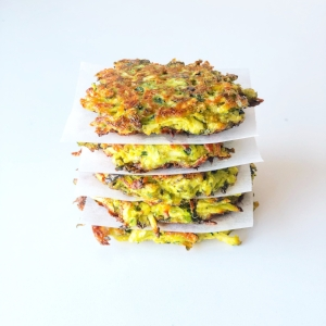 Zucchini + chickpea flour fritters GF,V