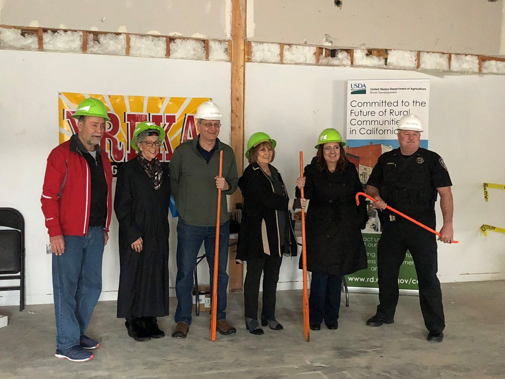 Pictured left to right: Yreka City Council Member Norman Shaskey, District 4 Supervisor Lisa Nixon, Yreka City Council Member Rob Bicego, Yreka Mayor Joan Smith Freeman, USDA California State Director Kim Dolbow Vann, and Yreka Police Chief Brian Bowles. They gathered at the site of the new Yreka Police Department Station on April 6, 2018.