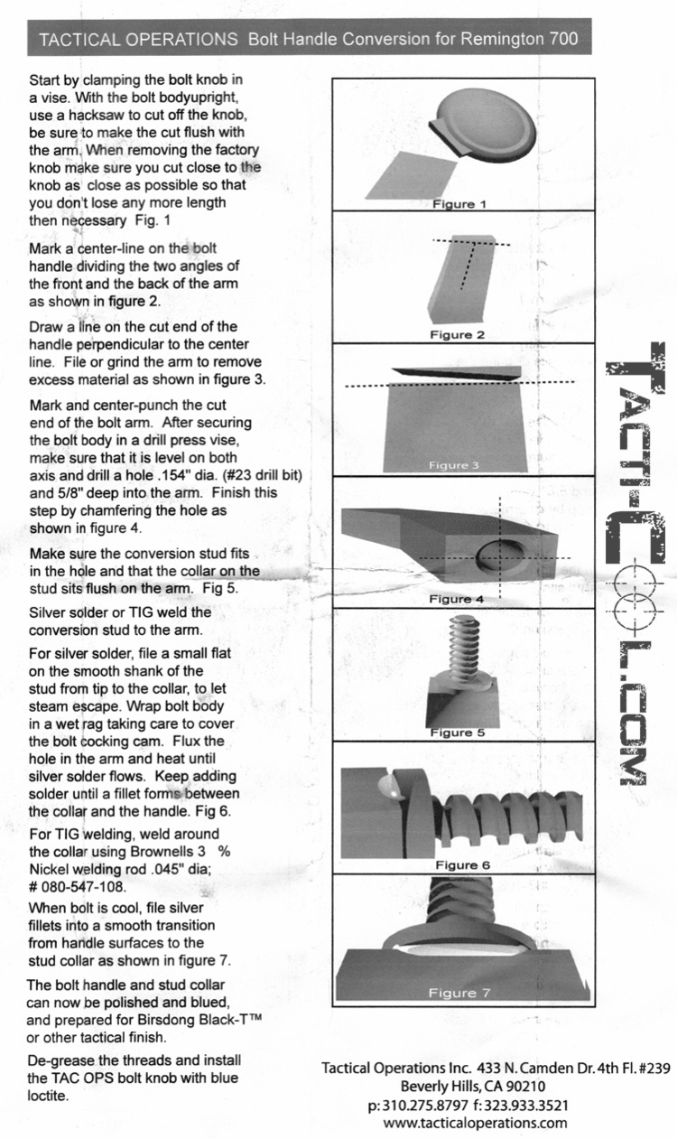 A copy of the Tac Ops Bolt Conversion Kit factory installation instructions sheet. No matter how much I researched I could not find this until after I purchased the kit.