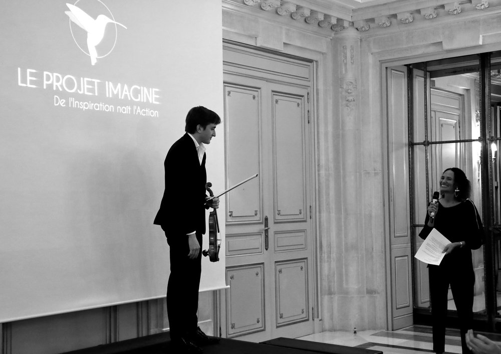 Brieuc and Frédérique Bedos at Le Projet Imagine Gala, Hotel Meurice, Paris 2017