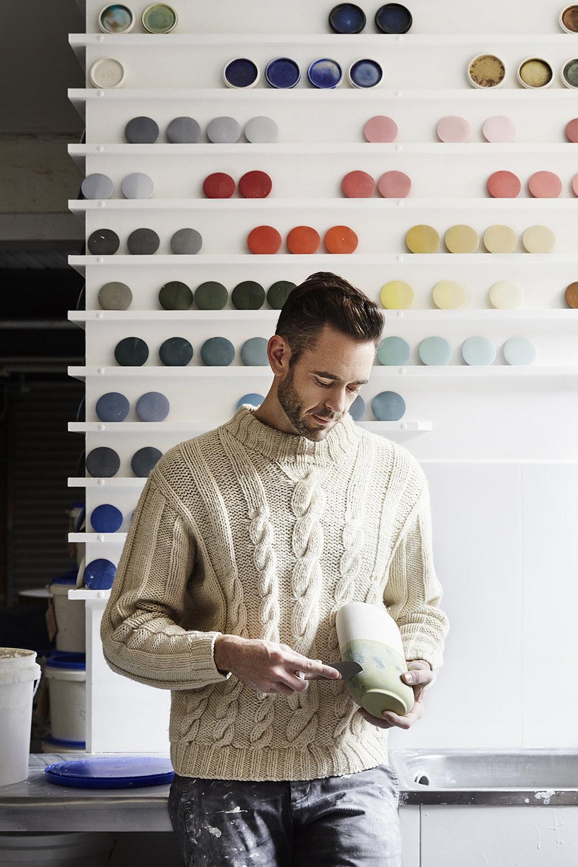 Ryan L Foote in his Melbourne ceramic studio