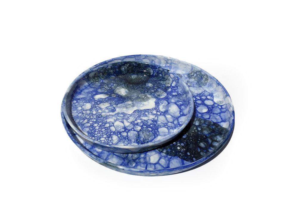 Blue & Blue-Black Bubble Plate