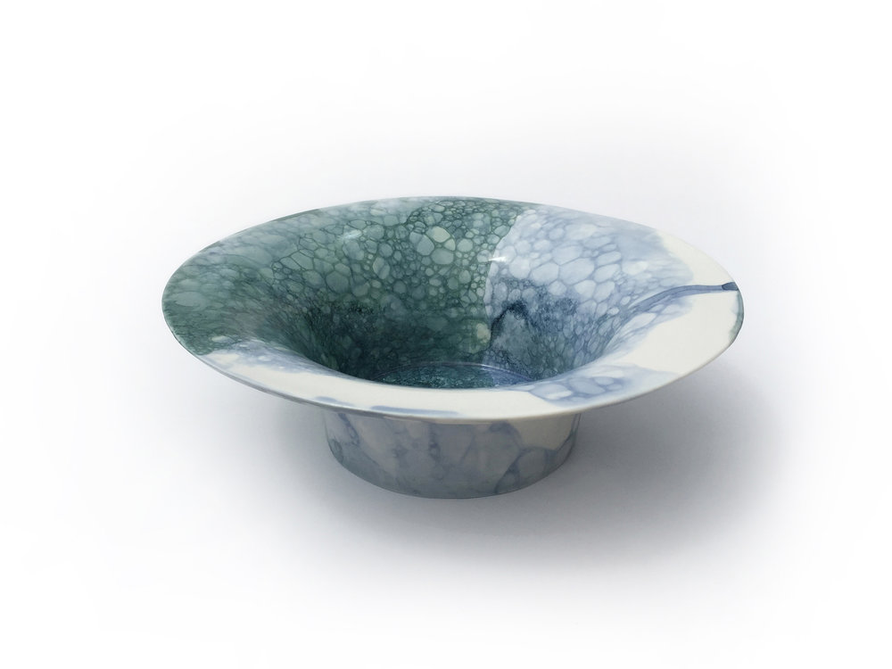 Olive & Blue Bubble Bowl