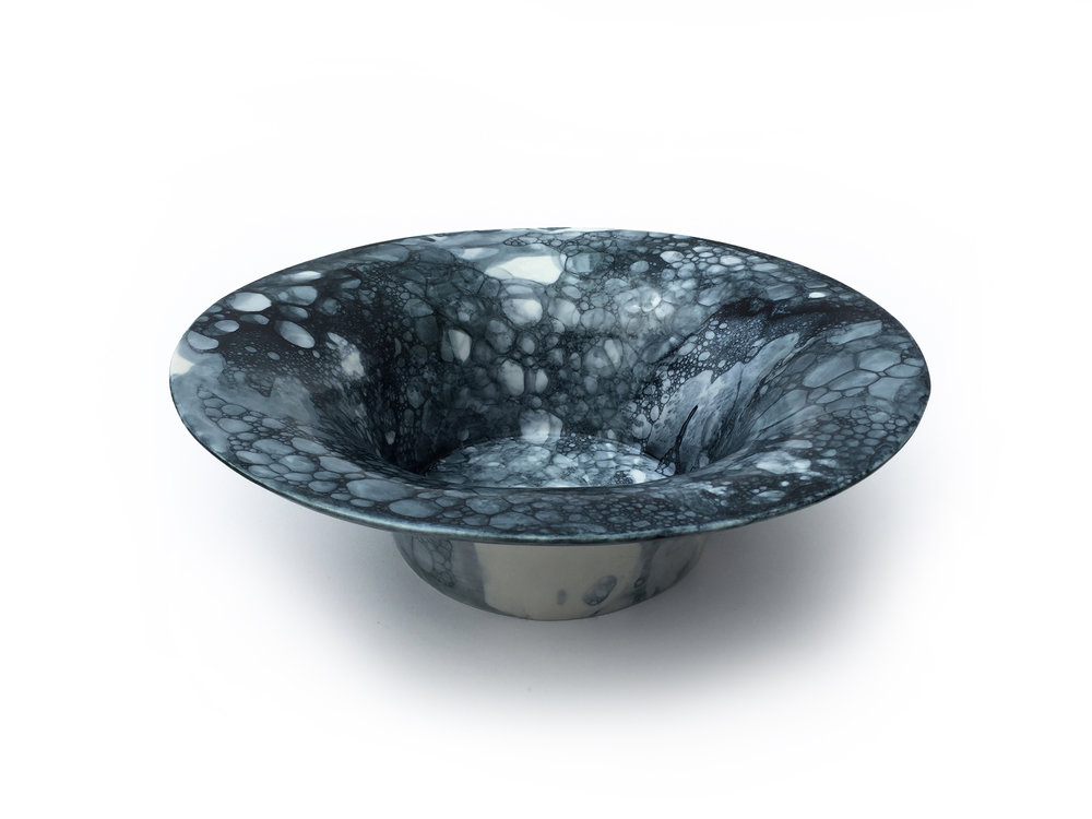 Blue-Black Bubble Bowl