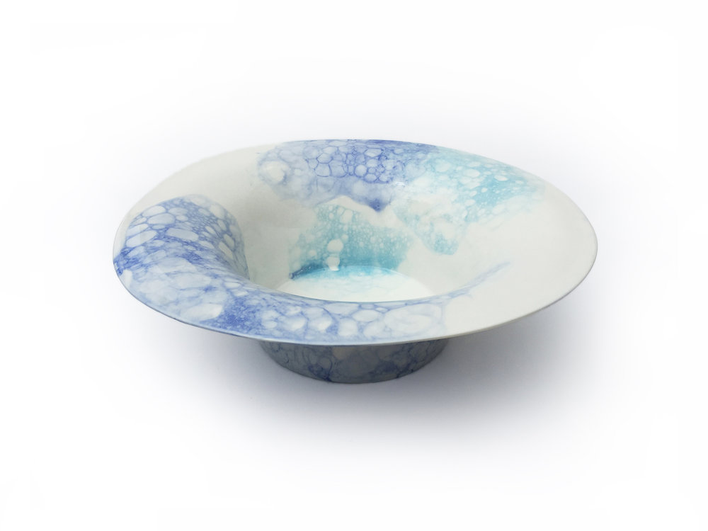 Bubble Fruit Bowl:  Blue & Blue partial coverage glaze