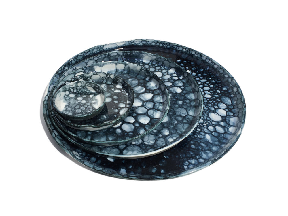 Black blue bubble glaze