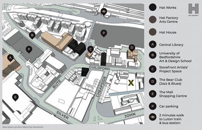 Map of Luton's Hat District showing the Hat Studios gap site as X