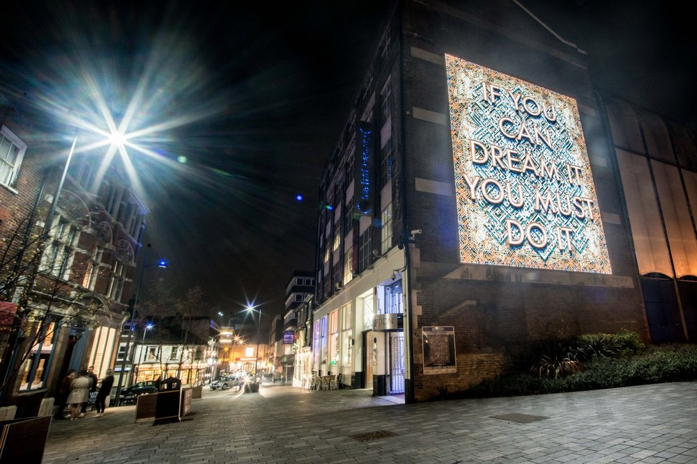 Hat Factory Arts Centre, Luton with 'Beacon' by Mark Titchner