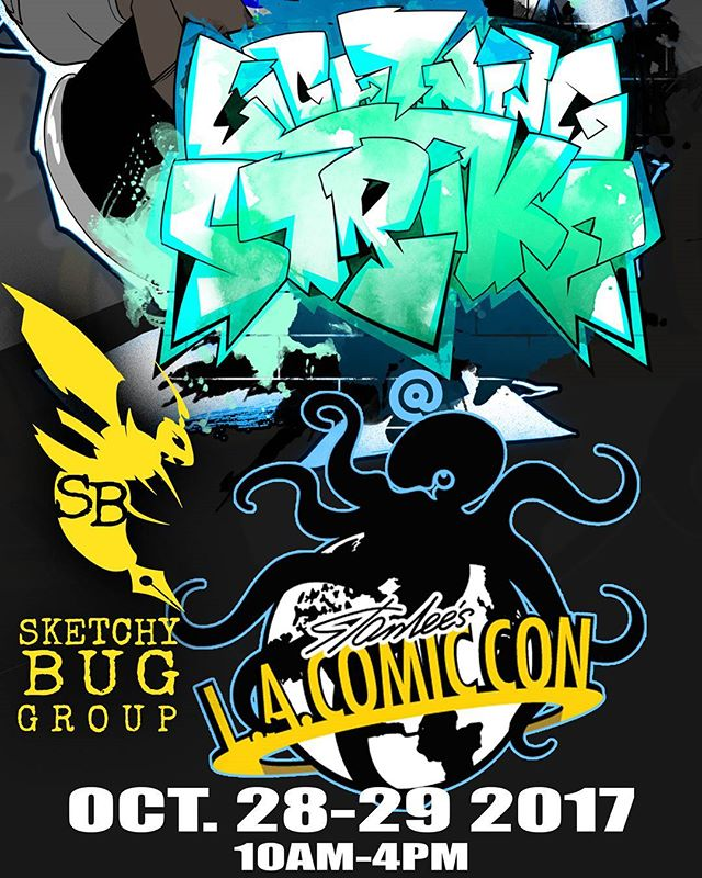 Hey everyone lightning strike will be at Stan Lee comic con this Saturday and Sunday at the LA Convention Center with the Sketchy Bug Group at table M31come out and show some support thanks #blacksuperhero #stenlee #comiccon #comptonhigh #comiccon