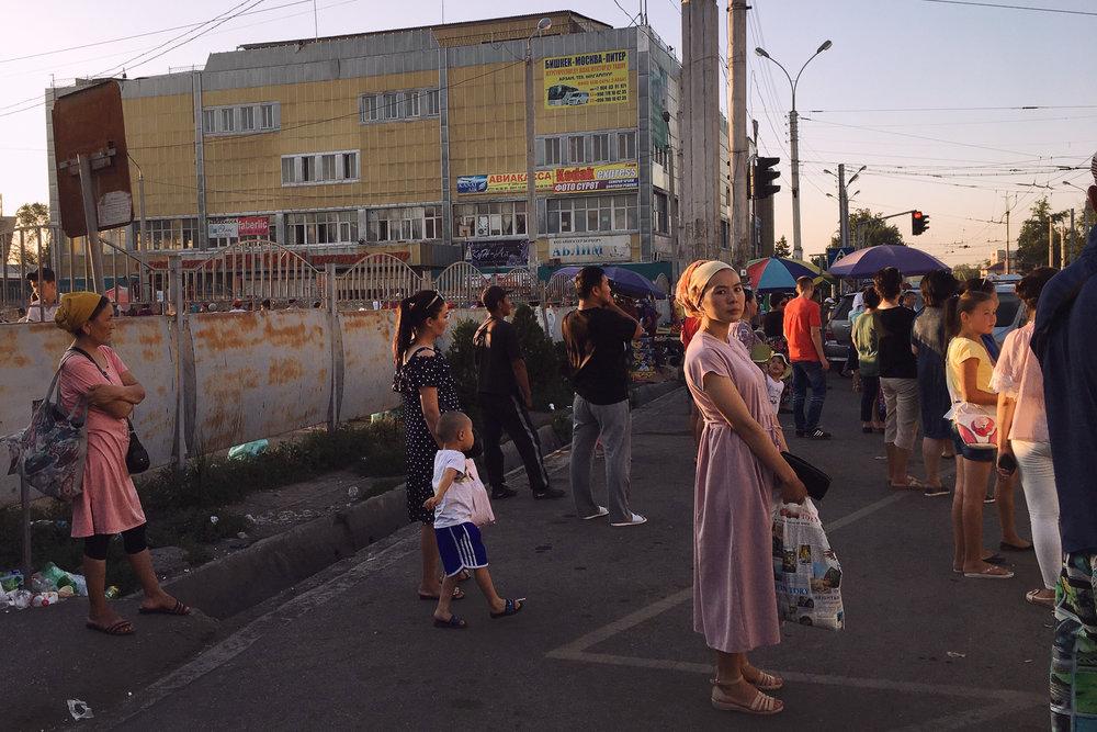 Bishkek bus stop near dusk