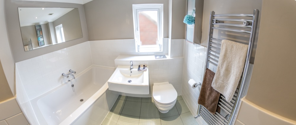 Fish-eye tense. White modern bathroom. Emperor Bathrooms limited.