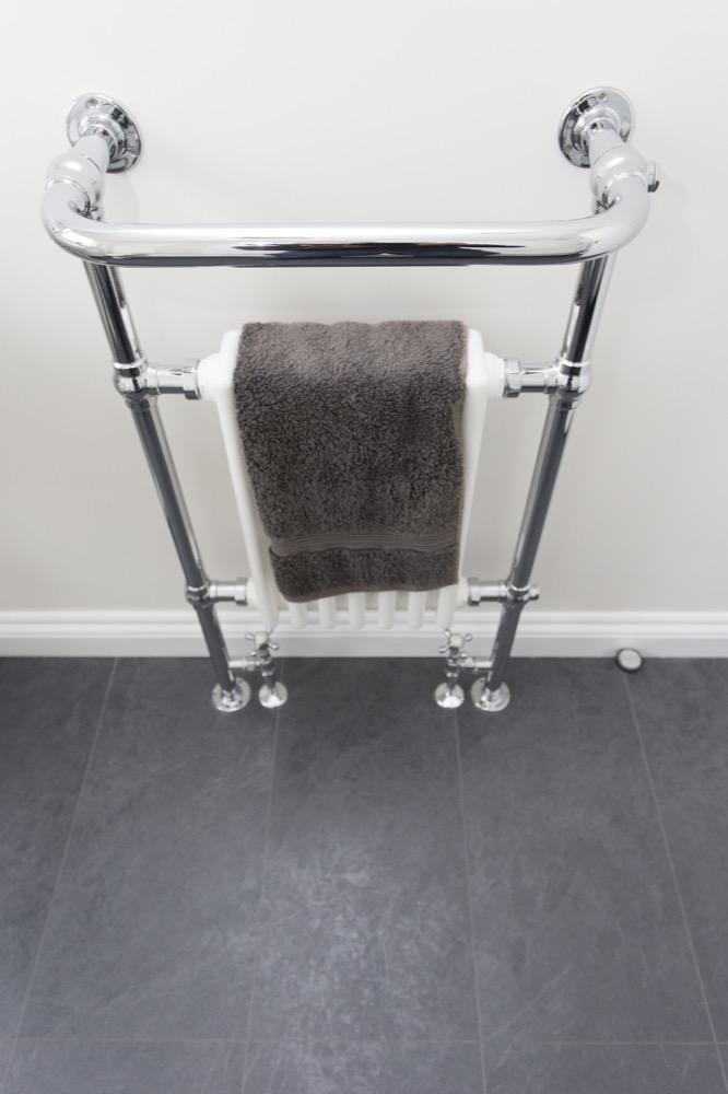Chrome Towel Rail in Halstead. Emperor Bathrooms.