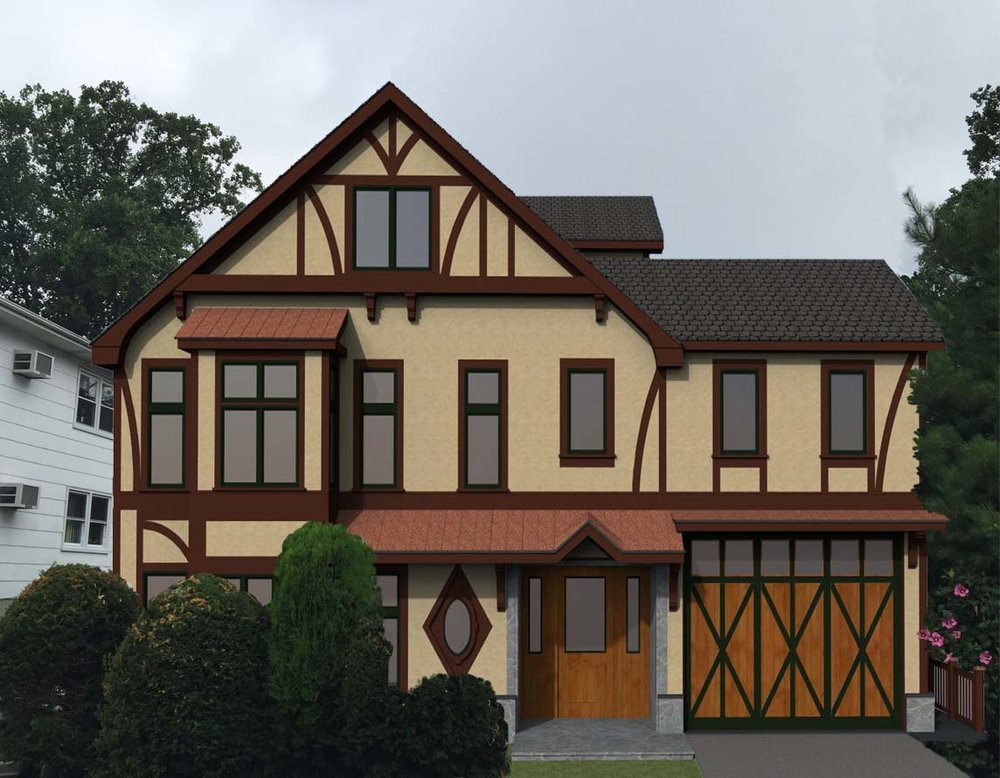 Tudor Style Home   A complete renovation of a mid century colonial to a Tudor style home designed to be fully accessible; complete with an elevator, accessible kitchen cabinets and baths, and parking for a 20' wheelchair accessible sprinter in the attached garage.
