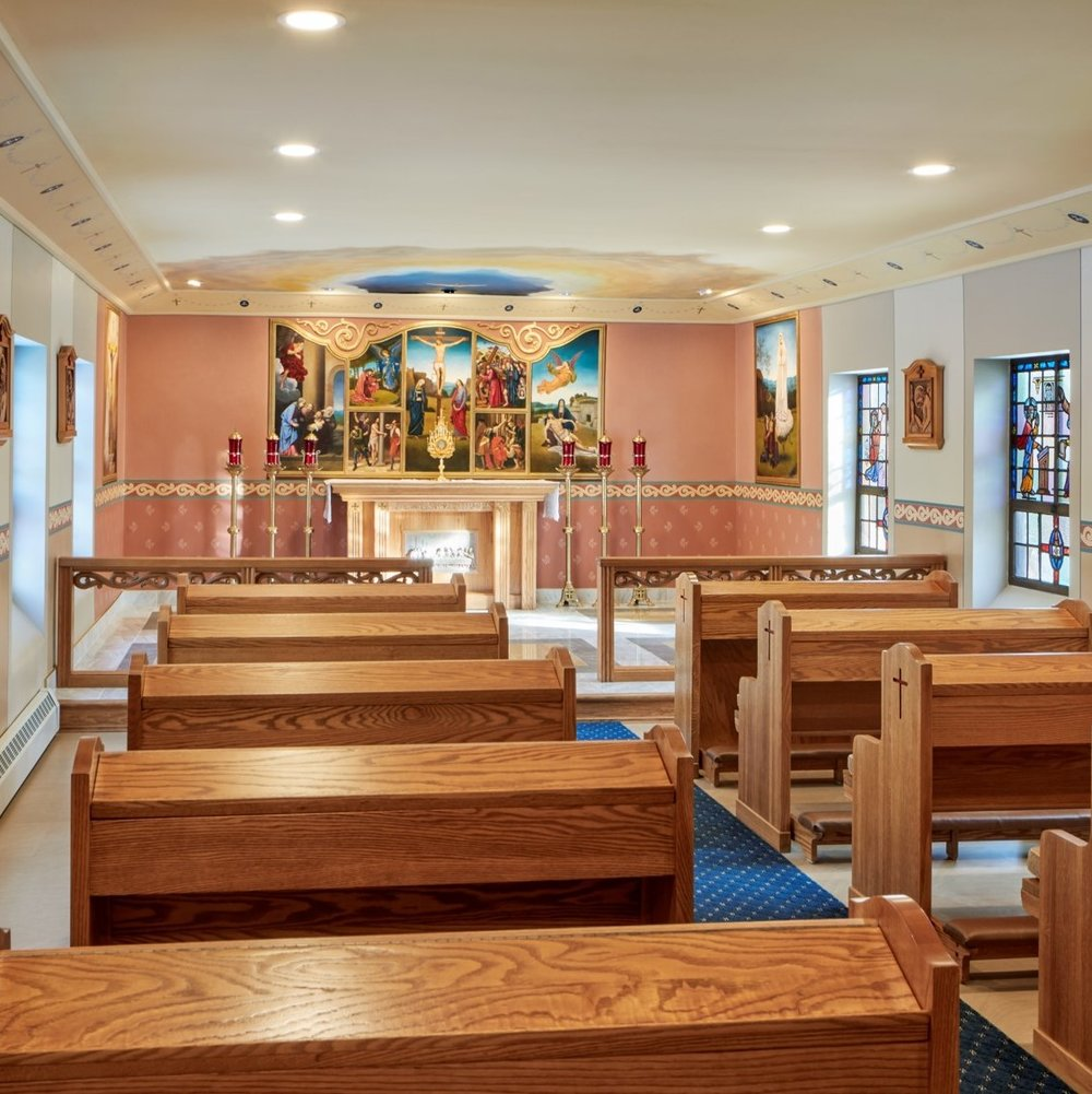 Elegant Simplicity - This little chapel is mid-century in design and originally possessed very few decorative features. The idea here was to create a contemplative and holy atmosphere for those coming to visit with Our Lord.Read More.