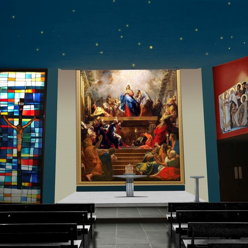 Distinctly Catholic, Simply Beautiful - This chapel is adjacent to a Catholic high school. The chapel was designed in the same institutional style as the classrooms and there are few distinctions between an auditorium and this space.Read More.