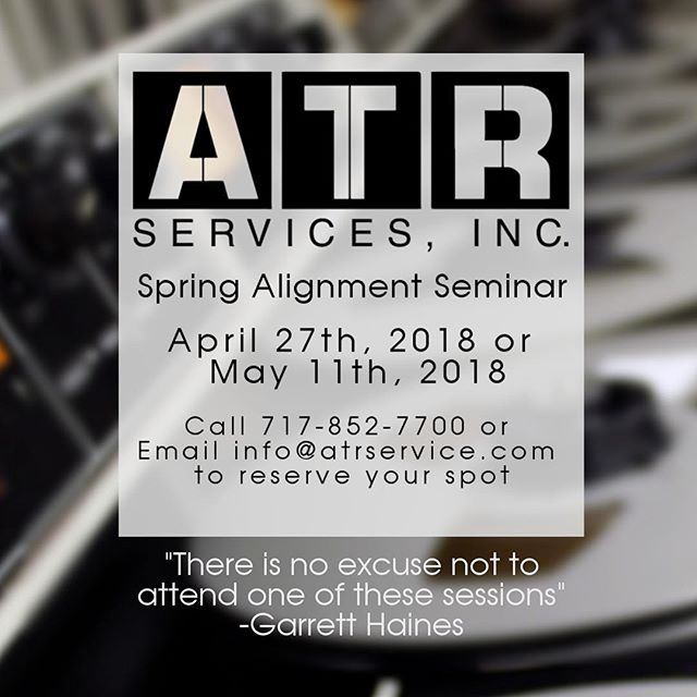 Our sister company, ATR Services, hosts a spring calibration seminar every year at our York, PA headquarters.  Using the ATR-100 series machine, it covers theory and operation of all things tape! You can use all of this knowledge on any machine with any track count.  Reserve your spot today, it's very very limited.  #reserve #limited #mondaymotivation #tapemachine #analog #knowledge  #knowledgeispower #themoreyouknow