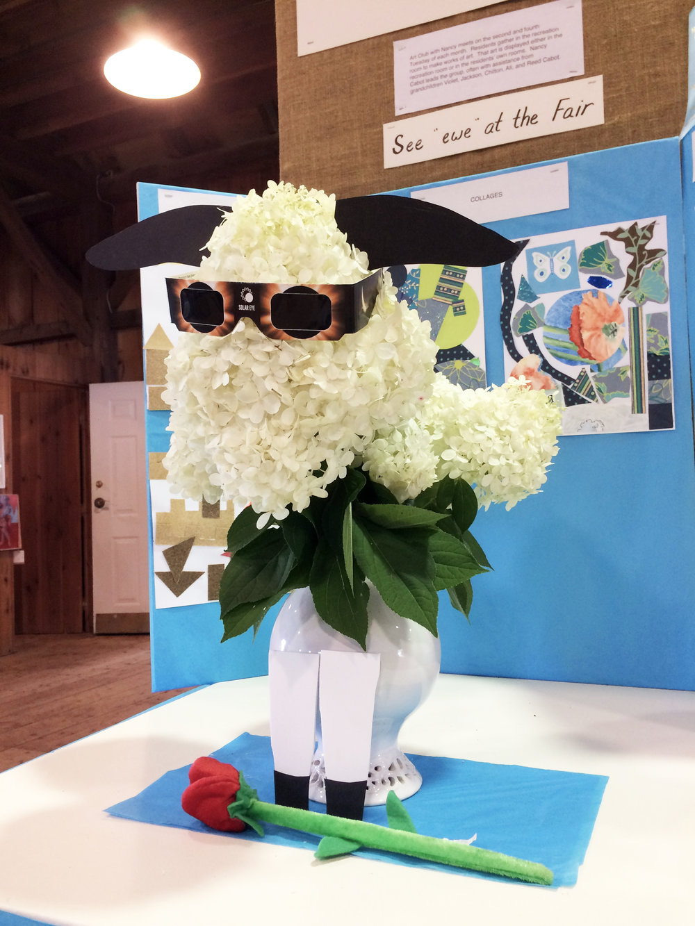 """This was the 156th Annual Agriculture Fair on the island. This year's theme was """"See Ewe at the Fair""""...and it happened during Eclipse week. Here is one of the displays that someone entered."""