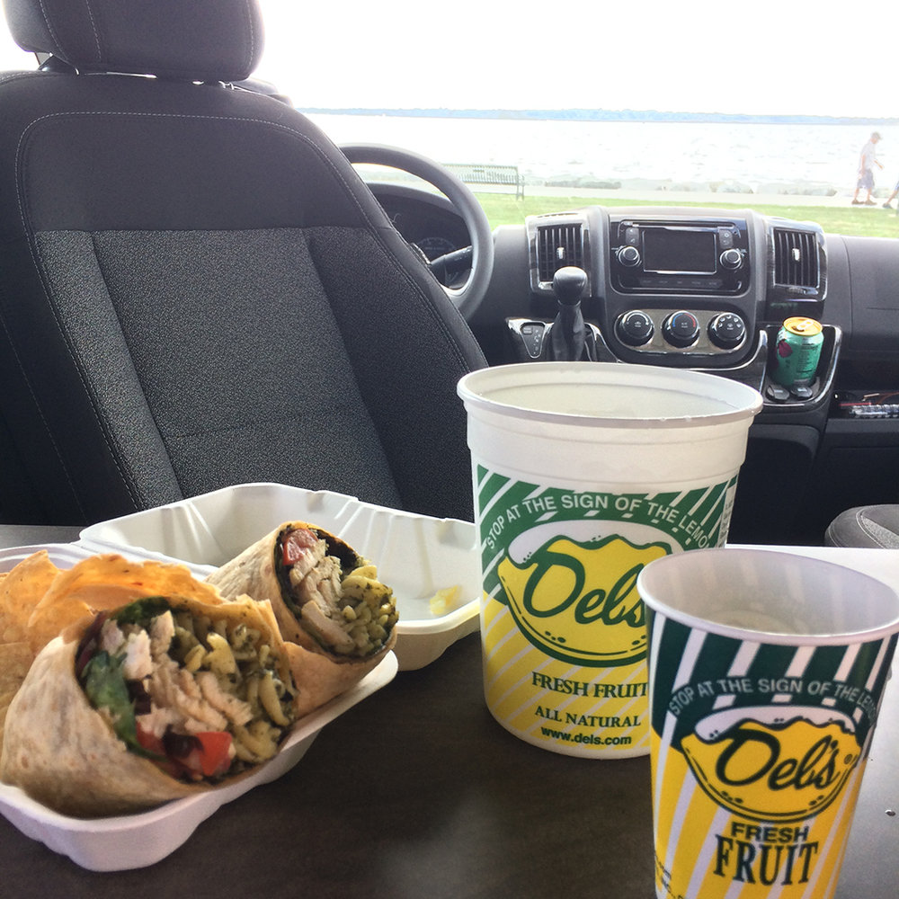 Indoor van picnic with a view at Colt State Park