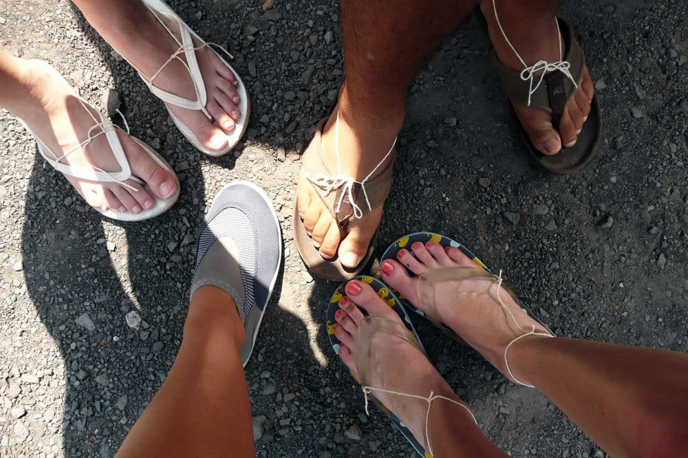 When tubing the Delaware don't forget your water shoes, or modify your shoes like we did :D