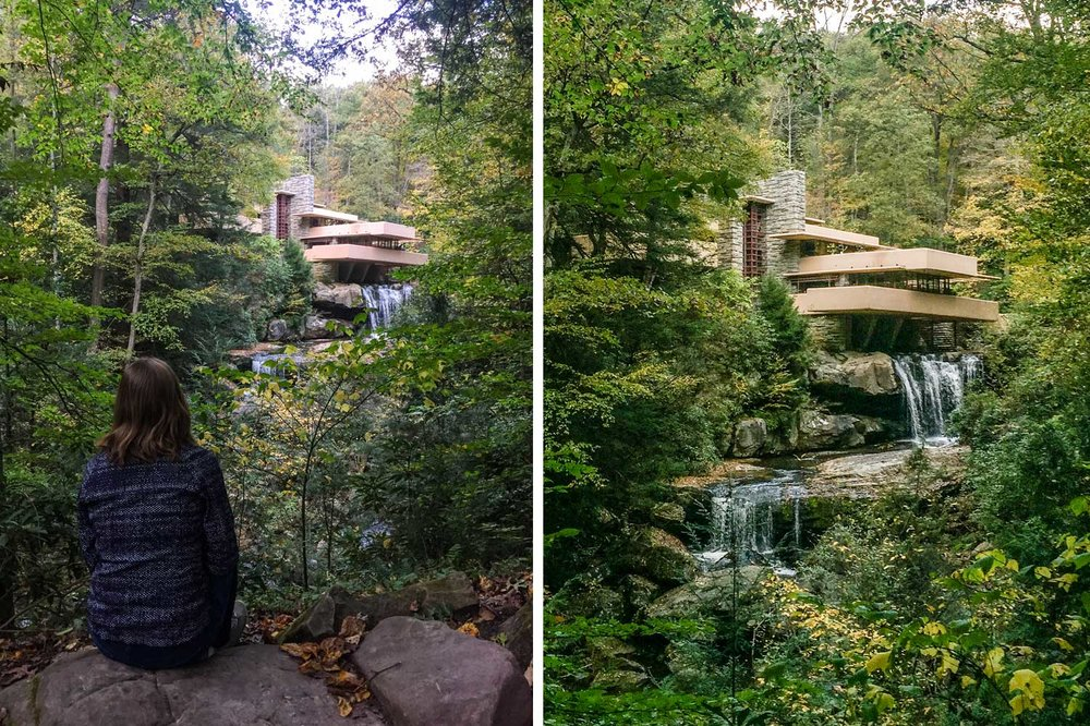 Proof I made it to Falling Water! Examining the severe deflection on the ground floor cantilever. The tour guide assured us that a structural engineer has signed off on it.