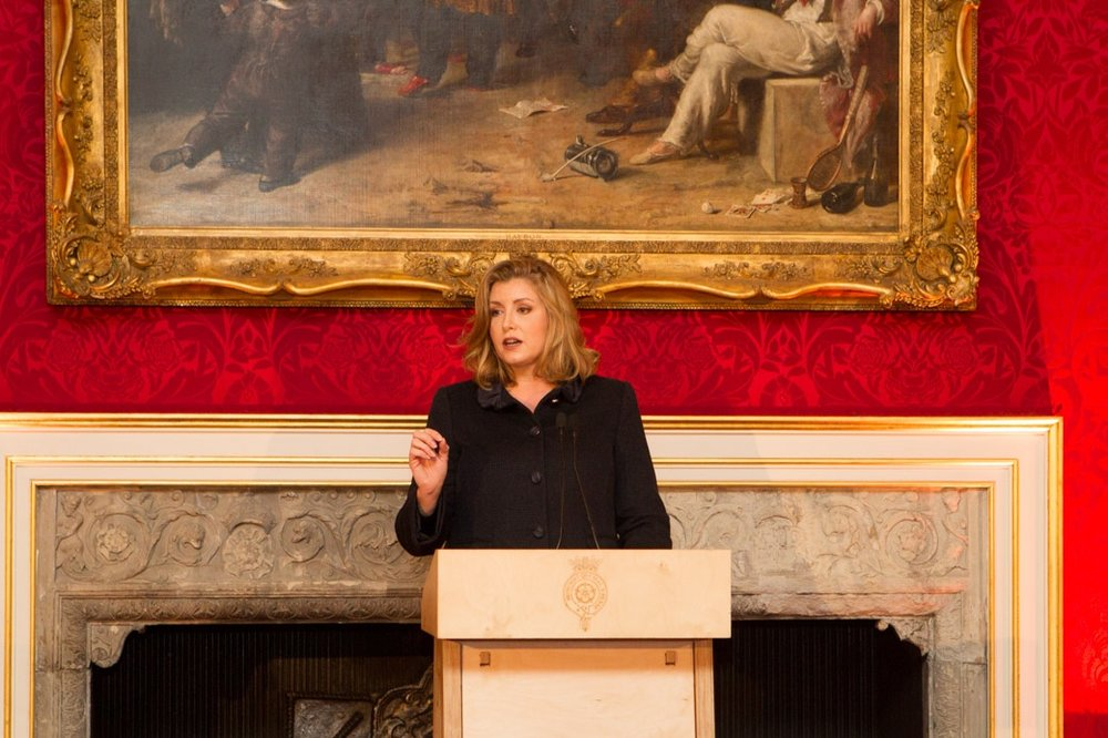 Penny Mordaunt, UK Government Minister for Women and Equalities, speaking at the MACA event at St James's Palace, London, September 6, 2018.