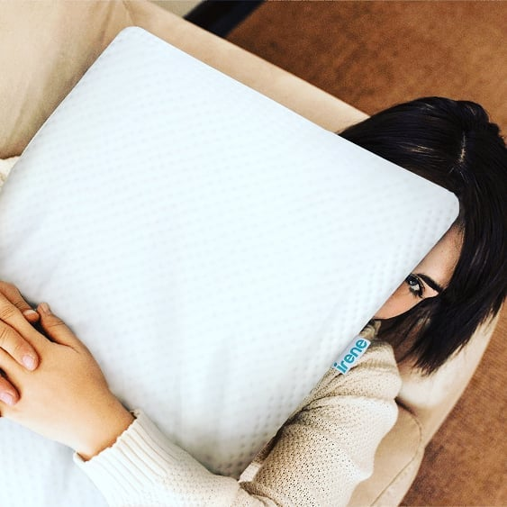 hmmm, cuddle time.  The Irene pillow is a game changer. Flippable, Cool gel infused memory foam on one site for warm sleepers, memory foam on the other site, both to keep your spine aligned,anti-microbial cover... it's going to change the way you sleep.  #irenesleep