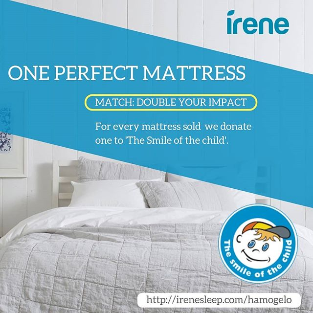 We are proud to announce the collaboration with 'The Smile of a Child' and the holiday matching gift challenge, an exciting opportunity that will see every sold mattress matched.  The Matching Gift Challenge will benefit 'The Smile of a Child' to fill several of its shelters in a need for new mattresses.  The campaign is ending on the 15th December.  #thesmileofthechild @hamogelo
