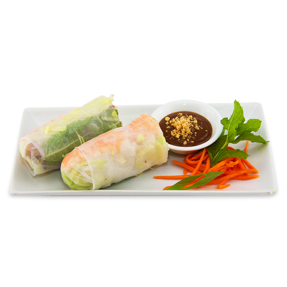 Shrimp and chicken spring rolls (rice paper) - served with fish sauce or peanut sauce on the side