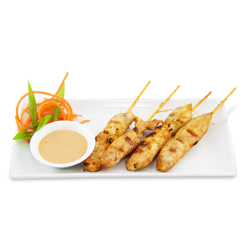 Chicken skewers - served with peanut sauce on the side