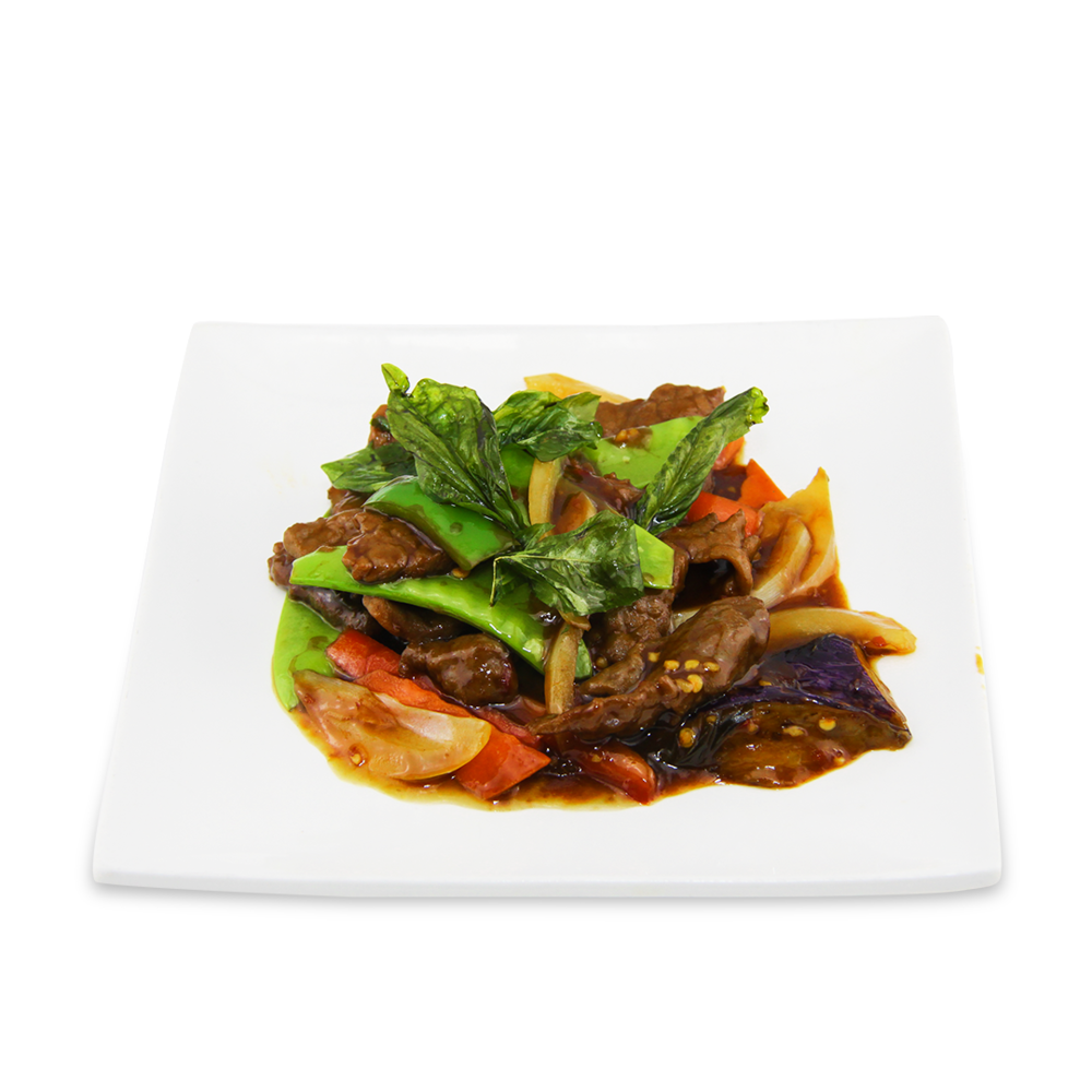 Stir fry basil beef with eggplants -