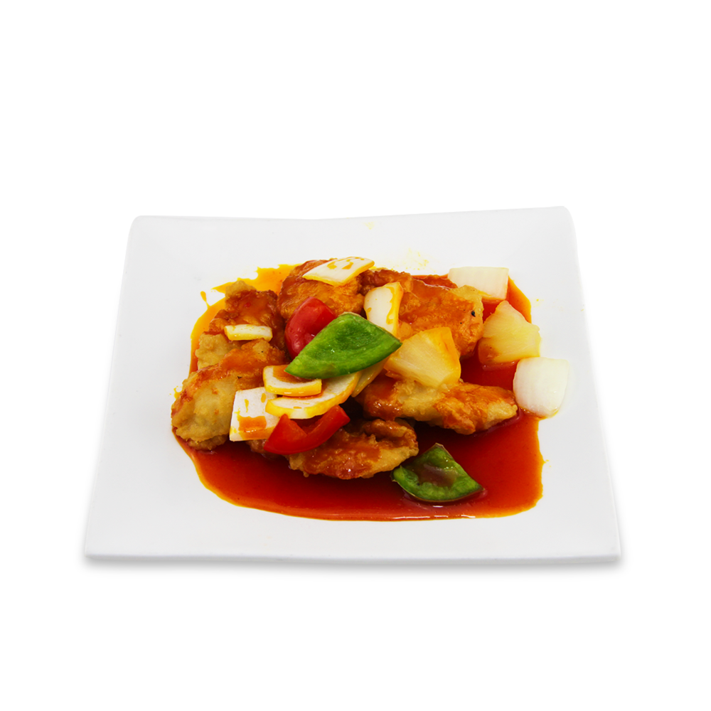 Crispy fish filet with sweet and sour sauce -