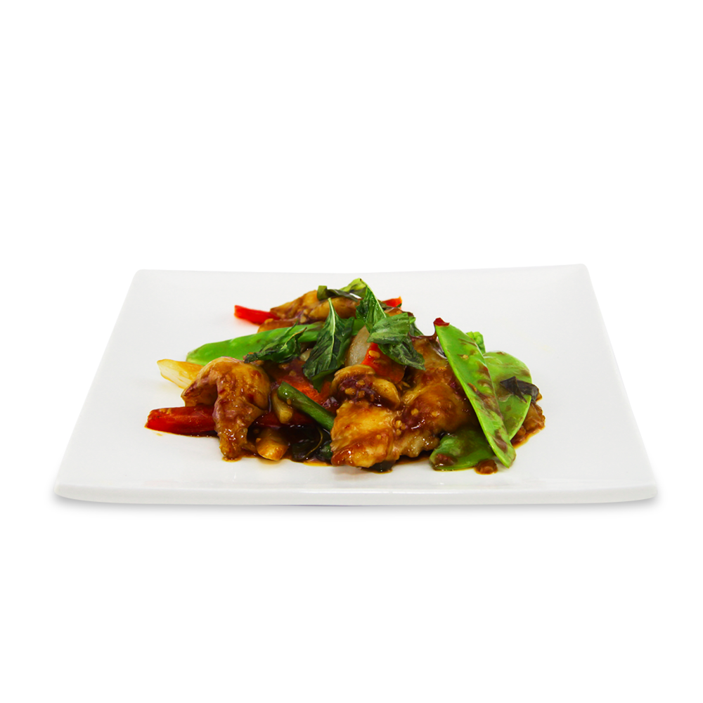 Stir fry fish filet basil with spicy sauce -