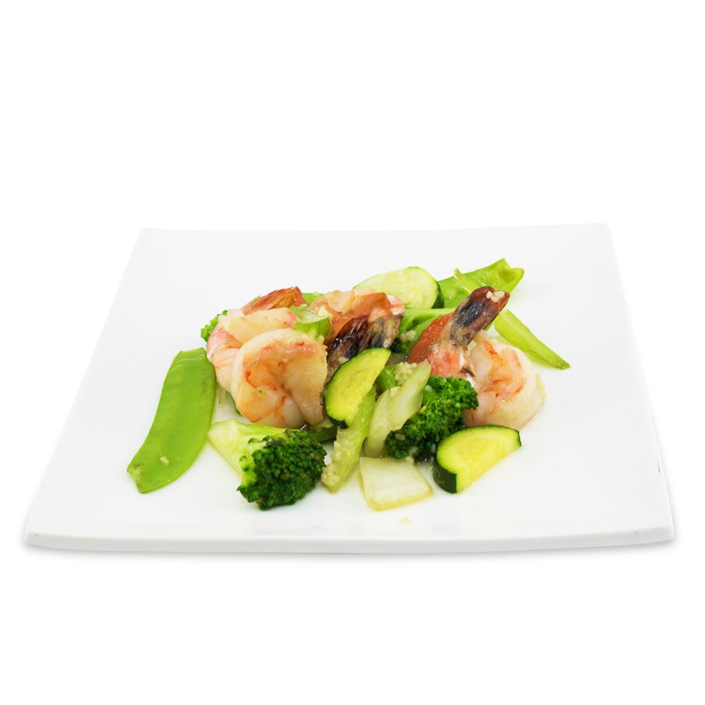 Crevettes sautées aux légumes -