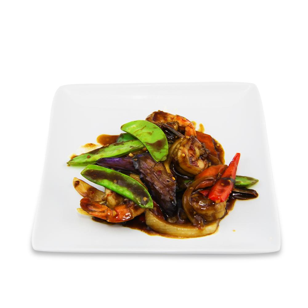 Shrimps basil with eggplants -
