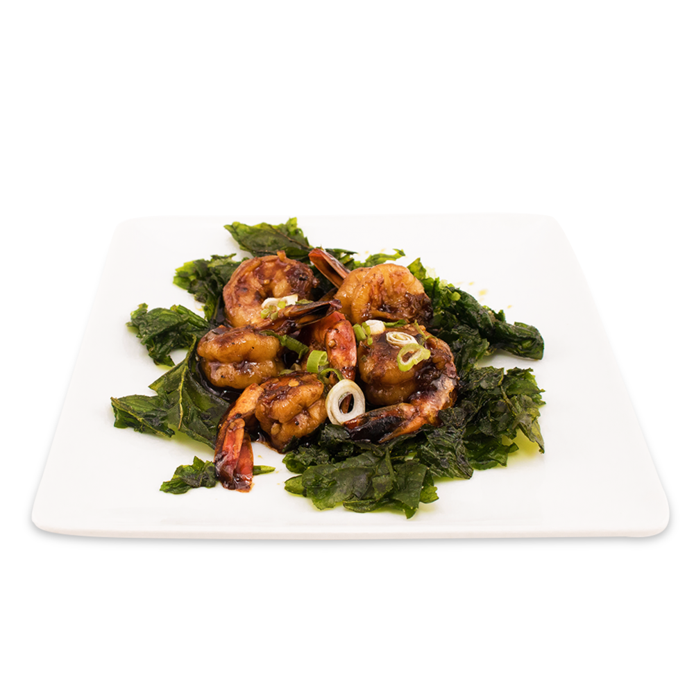 Shrimps with pepper sauce and crispy spinach - (can be replaced by chicken or tofu