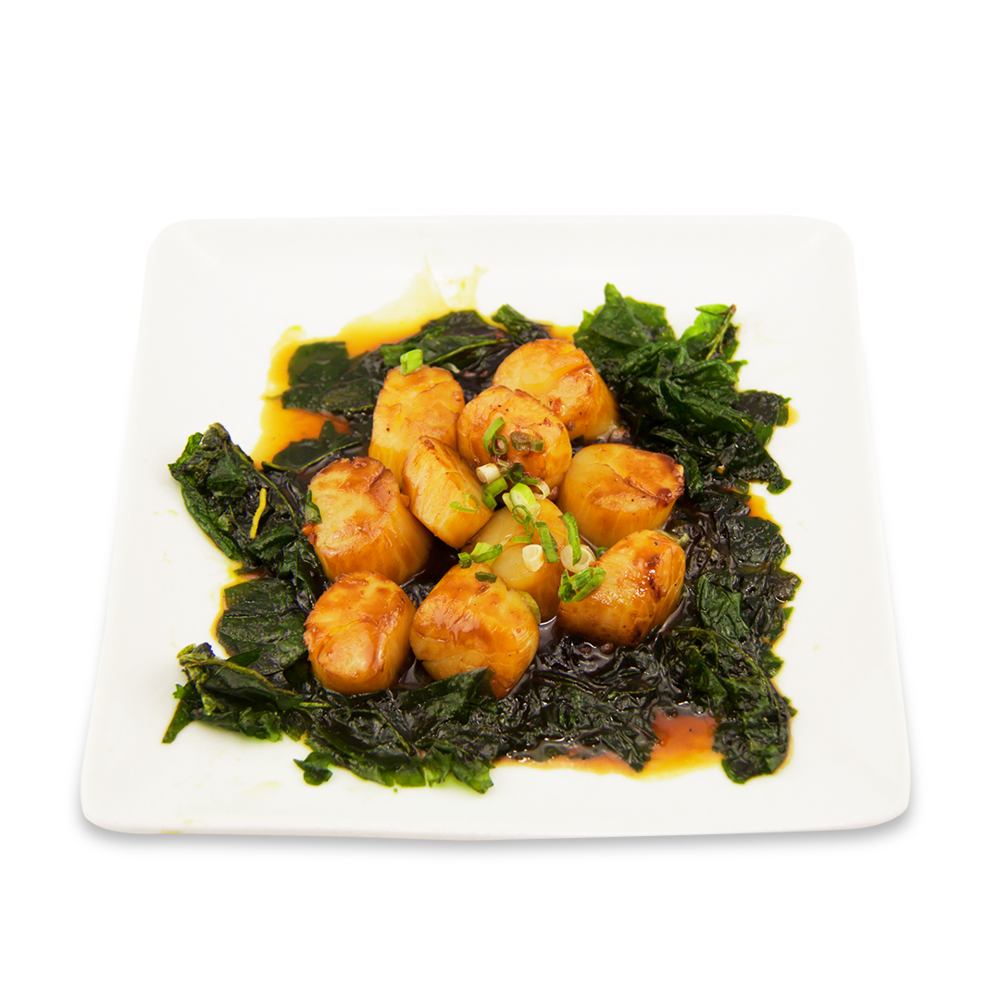 Scallop with pepper sauce and crispy spinach -