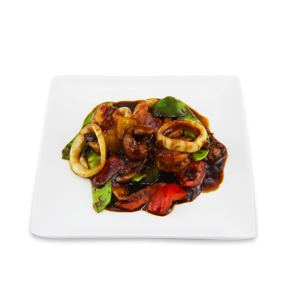 Seafood with satay sauce -