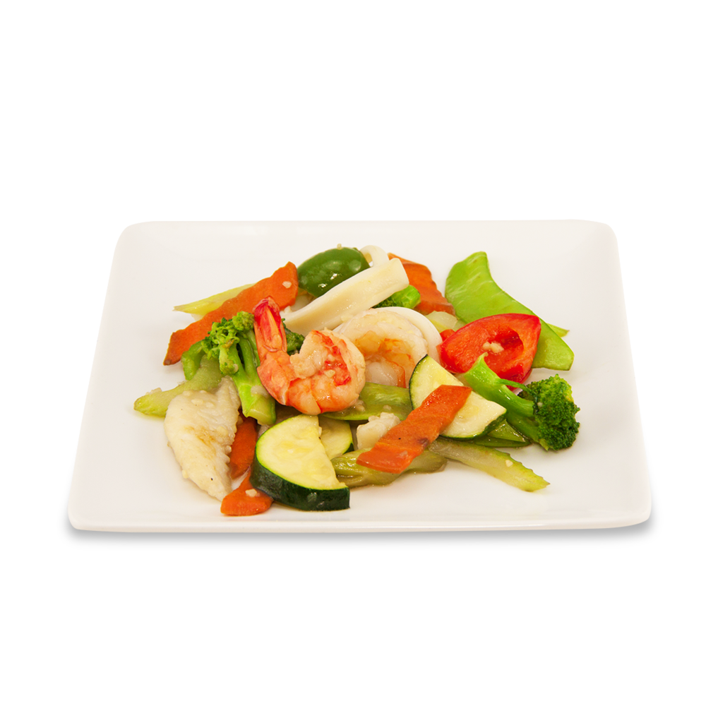 Stir fry seafood with vegetables -