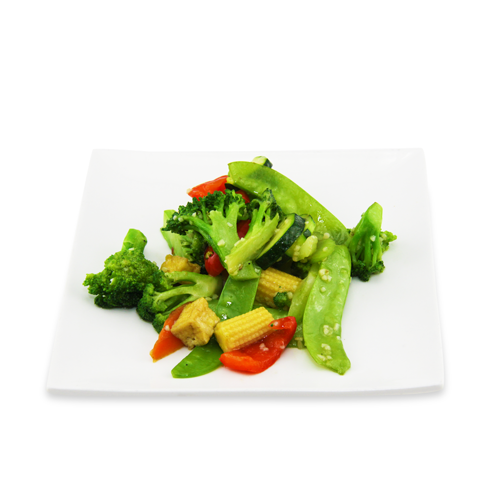 Stir fry Tofu and mixed vegetables with basil sauce -