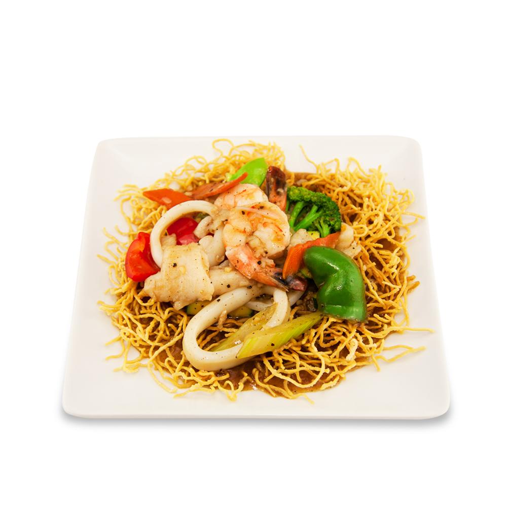 Nouilles croustillantes style thaï - A ) LégumesB ) PouletC )Fruit de mer