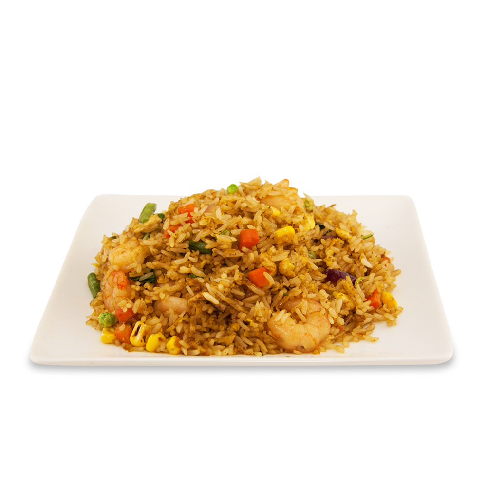 Fried rice with basil - A ) VegetablesB ) ChickenC ) BeefD ) Shrimps